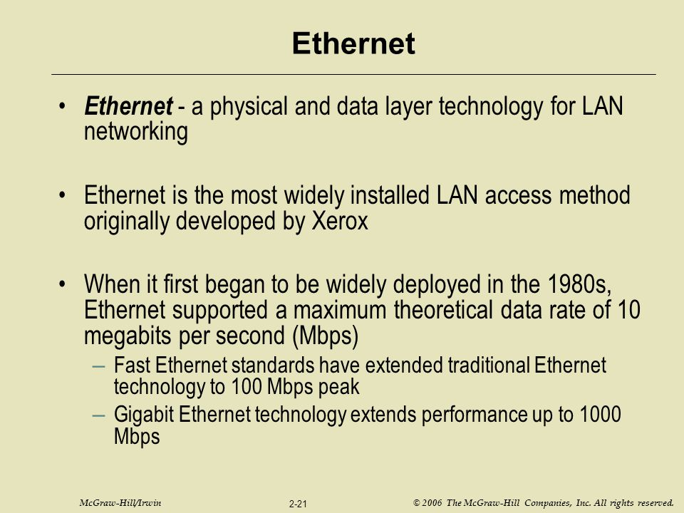 McGraw-Hill/Irwin © 2006 The McGraw-Hill Companies, Inc. All rights reserved. 2-21 Ethernet Ethernet - a physical and data layer technology for LAN ne