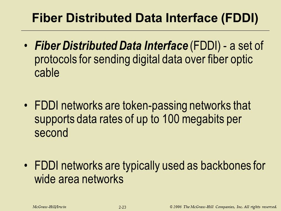 McGraw-Hill/Irwin © 2006 The McGraw-Hill Companies, Inc. All rights reserved. 2-23 Fiber Distributed Data Interface (FDDI) Fiber Distributed Data Inte