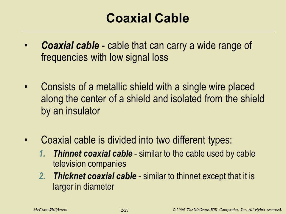 McGraw-Hill/Irwin © 2006 The McGraw-Hill Companies, Inc. All rights reserved. 2-29 Coaxial Cable Coaxial cable - cable that can carry a wide range of
