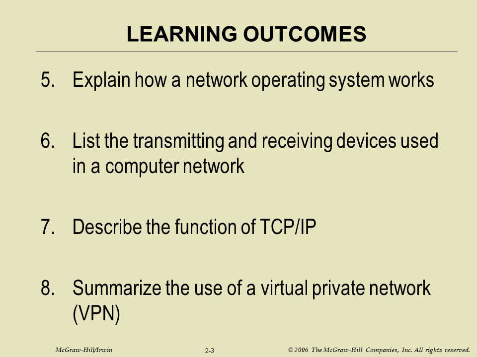 McGraw-Hill/Irwin © 2006 The McGraw-Hill Companies, Inc. All rights reserved. 2-3 LEARNING OUTCOMES 5.Explain how a network operating system works 6.L