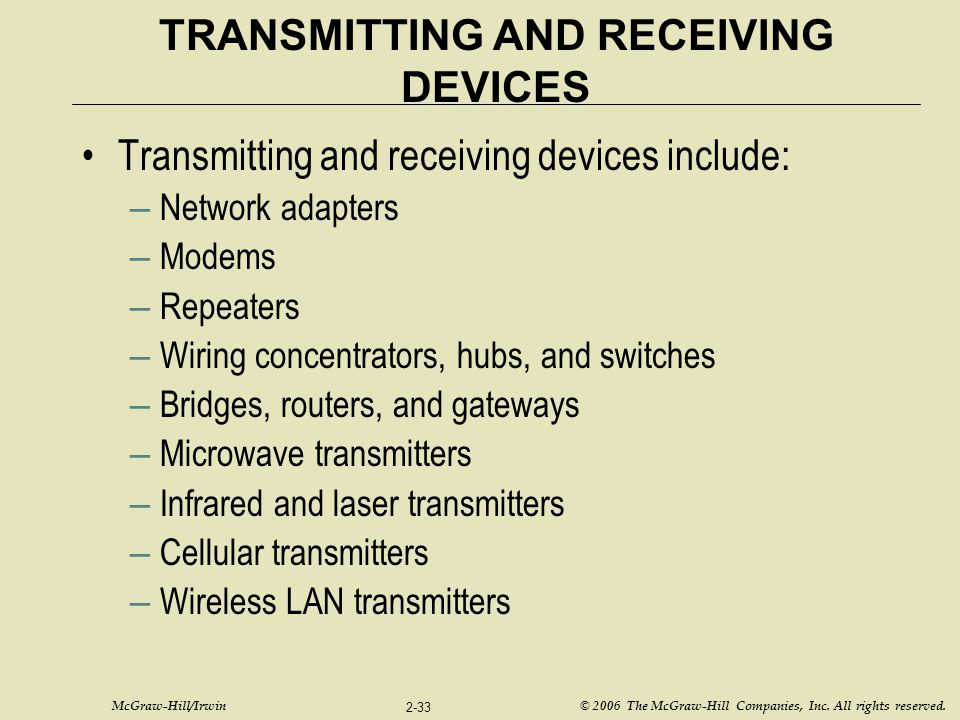 McGraw-Hill/Irwin © 2006 The McGraw-Hill Companies, Inc. All rights reserved. 2-33 TRANSMITTING AND RECEIVING DEVICES Transmitting and receiving devic