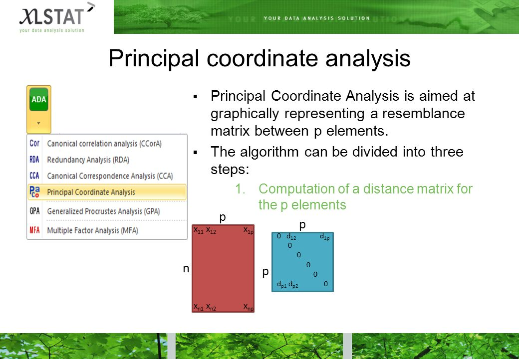 Principal coordinate analysis  Principal Coordinate Analysis is aimed at graphically representing a resemblance matrix between p elements.