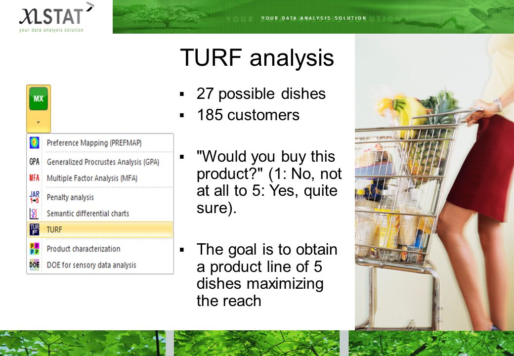 TURF analysis  27 possible dishes  185 customers  Would you buy this product (1: No, not at all to 5: Yes, quite sure).