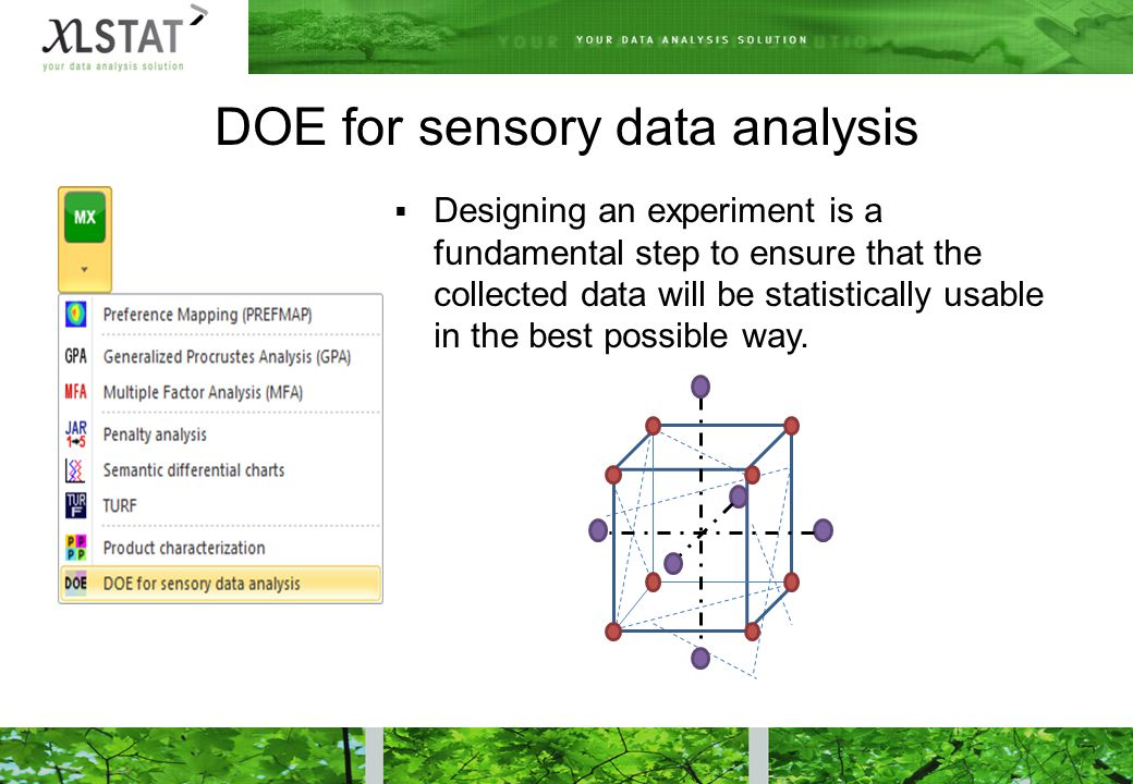 DOE for sensory data analysis  Designing an experiment is a fundamental step to ensure that the collected data will be statistically usable in the best possible way.