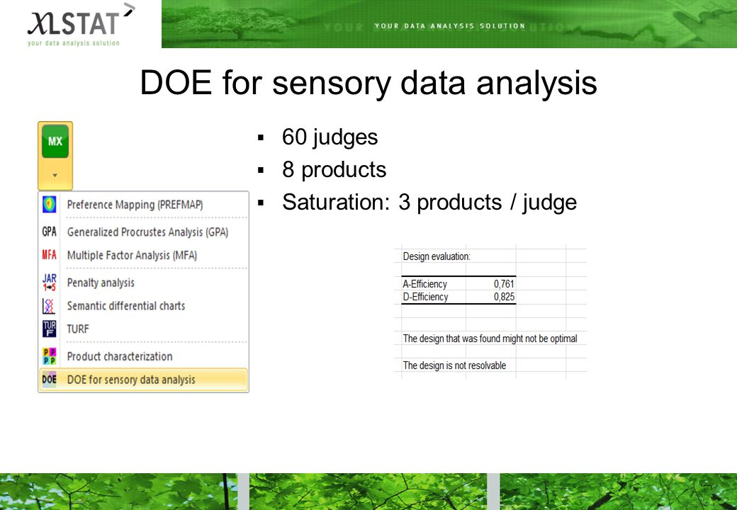  60 judges  8 products  Saturation: 3 products / judge DOE for sensory data analysis