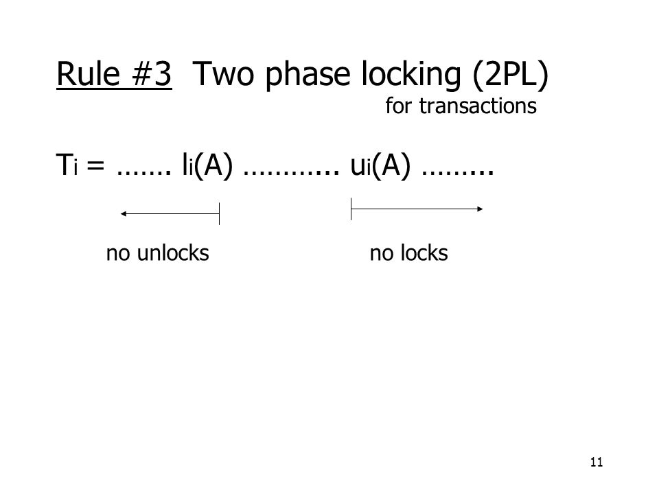 11 Rule #3 Two phase locking (2PL) for transactions T i = …….