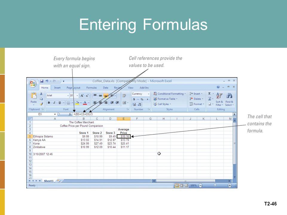 T2-46 Entering Formulas