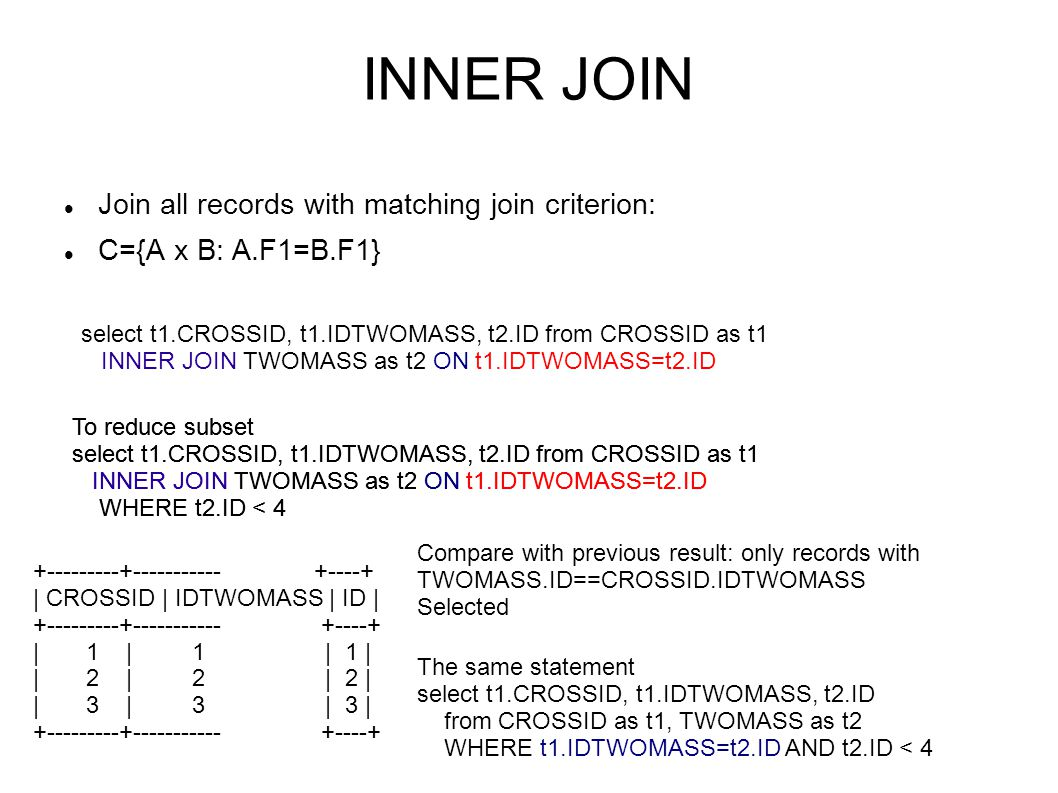 OUTER JOIN Join all records with matching join criterion and add non-matching.