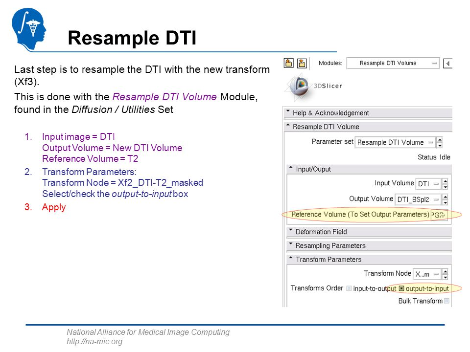 National Alliance for Medical Image Computing   Resample DTI Last step is to resample the DTI with the new transform (Xf3).