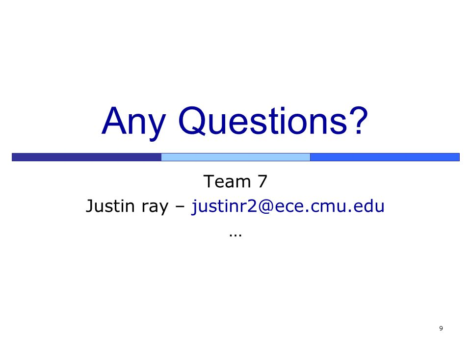 9 Any Questions Team 7 Justin ray – justinr2@ece.cmu.edu …