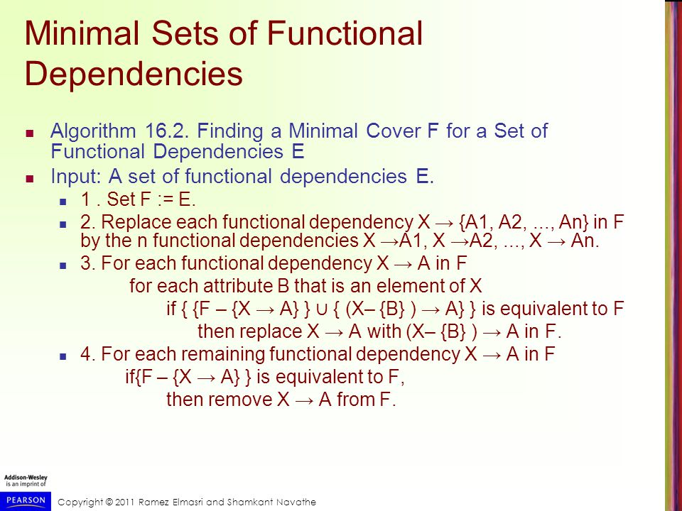 Copyright © 2011 Ramez Elmasri and Shamkant Navathe Minimal Sets of Functional Dependencies Algorithm 16.2.
