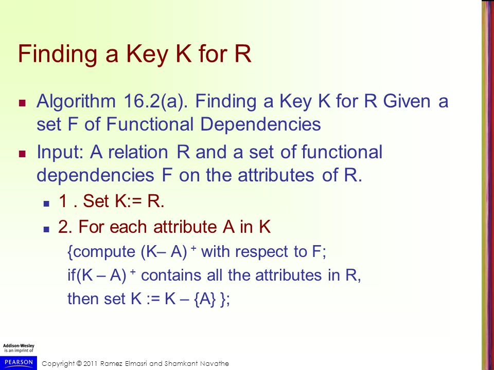Copyright © 2011 Ramez Elmasri and Shamkant Navathe Finding a Key K for R Algorithm 16.2(a).