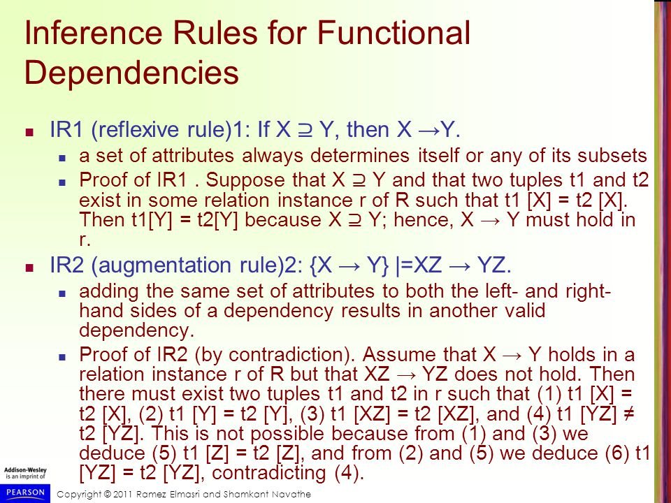 Copyright © 2011 Ramez Elmasri and Shamkant Navathe Inference Rules for Functional Dependencies IR1 (reflexive rule)1: If X ⊇ Y, then X →Y.