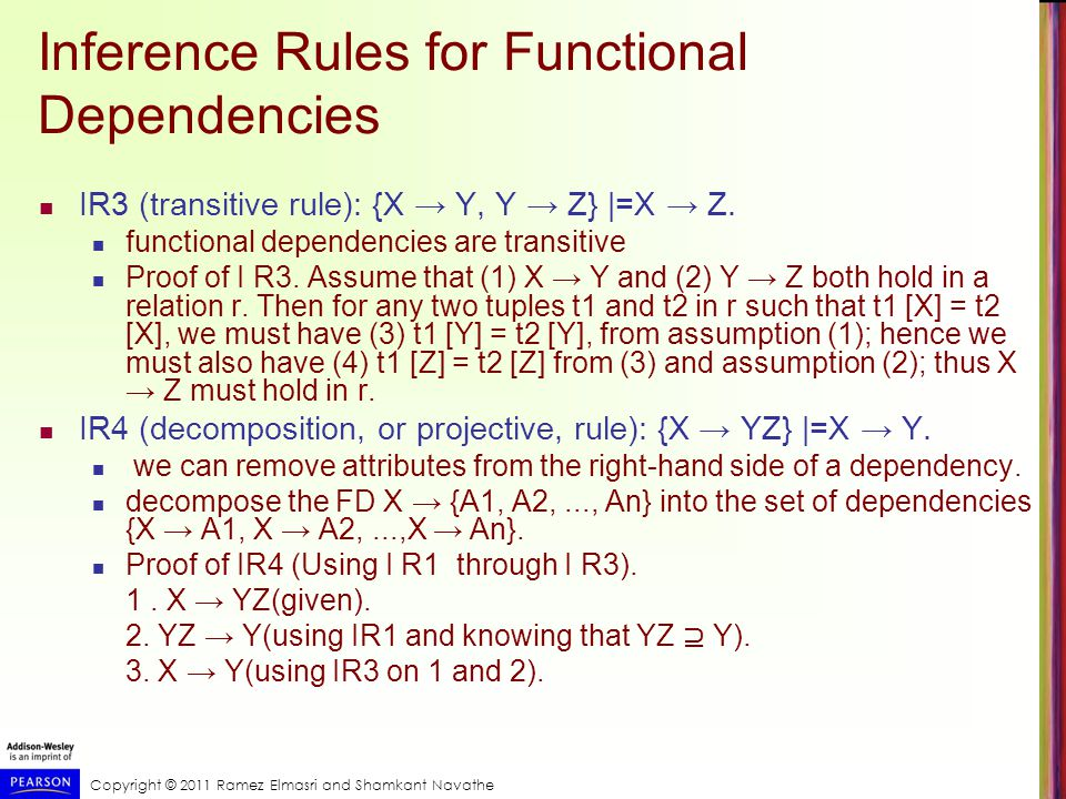 Copyright © 2011 Ramez Elmasri and Shamkant Navathe Inference Rules for Functional Dependencies IR3 (transitive rule): {X → Y, Y → Z} |=X → Z.