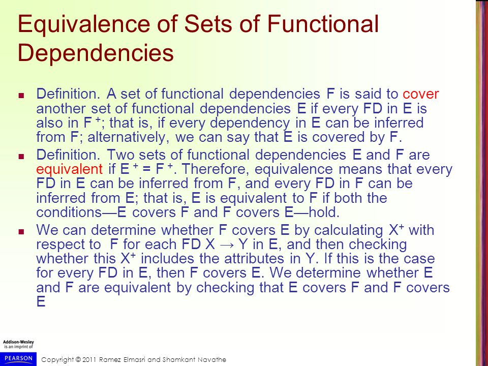 Copyright © 2011 Ramez Elmasri and Shamkant Navathe Equivalence of Sets of Functional Dependencies Definition.