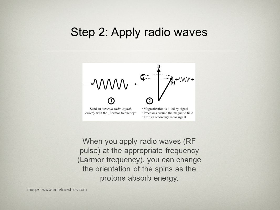 Step 2: Apply radio waves After you turn off the RF pulse, as the protons return to their original orientations, they emit energy in the form of radio waves.