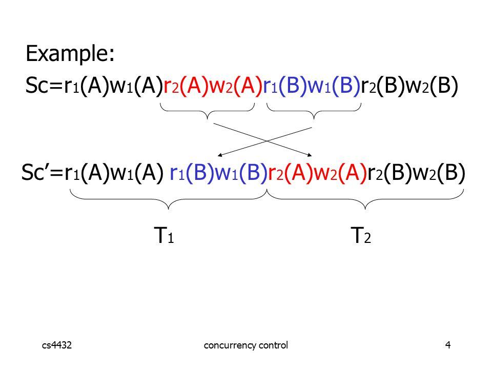 cs4432concurrency control4 Sc'=r 1 (A)w 1 (A) r 1 (B)w 1 (B)r 2 (A)w 2 (A)r 2 (B)w 2 (B) T 1 T 2 Example: Sc=r 1 (A)w 1 (A)r 2 (A)w 2 (A)r 1 (B)w 1 (B)r 2 (B)w 2 (B)