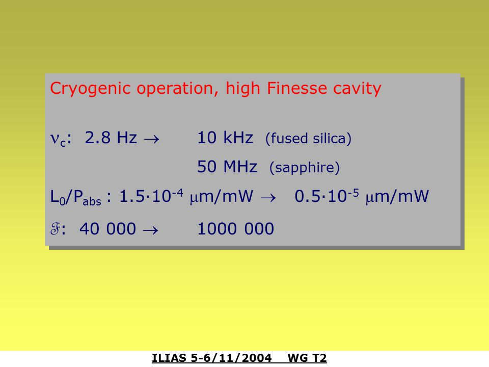 ILIAS 5-6/11/2004 WG T2 Cryogenic operation, high Finesse cavity c : 2.8 Hz 10 kHz (fused silica) 50 MHz (sapphire) L 0 /P abs : 1.5·10 -4 m/mW 0.5