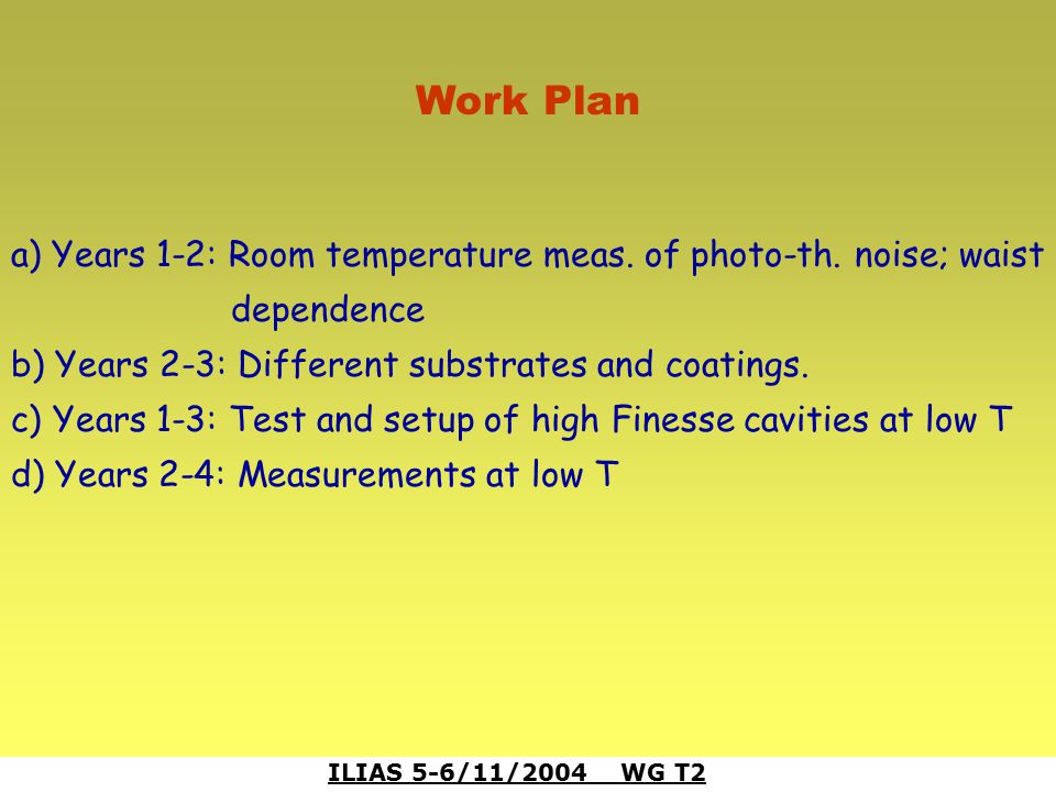 ILIAS 5-6/11/2004 WG T2 Work Plan a) Years 1-2: Room temperature meas. of photo-th. noise; waist dependence b) Years 2-3: Different substrates and coa
