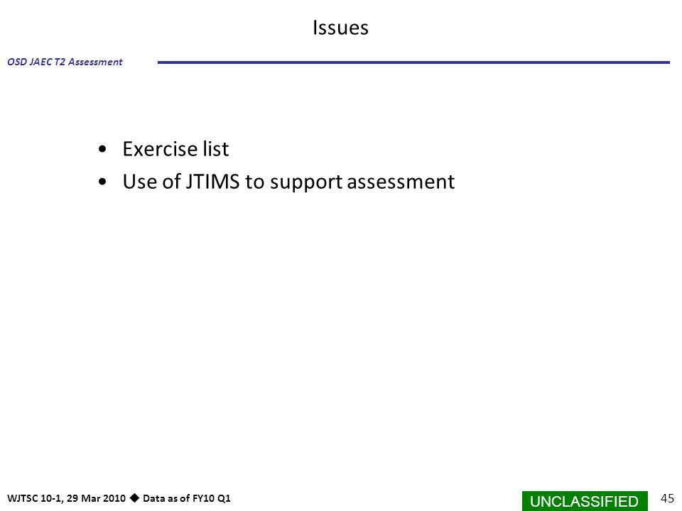UNCLASSIFIED 45 OSD JAEC T2 Assessment WJTSC 10-1, 29 Mar 2010  Data as of FY10 Q1 Issues Exercise list Use of JTIMS to support assessment