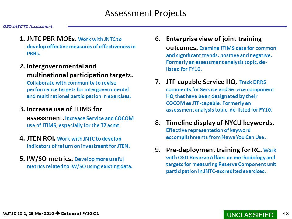 UNCLASSIFIED 48 OSD JAEC T2 Assessment WJTSC 10-1, 29 Mar 2010  Data as of FY10 Q1 Assessment Projects 1.JNTC PBR MOEs. Work with JNTC to develop eff