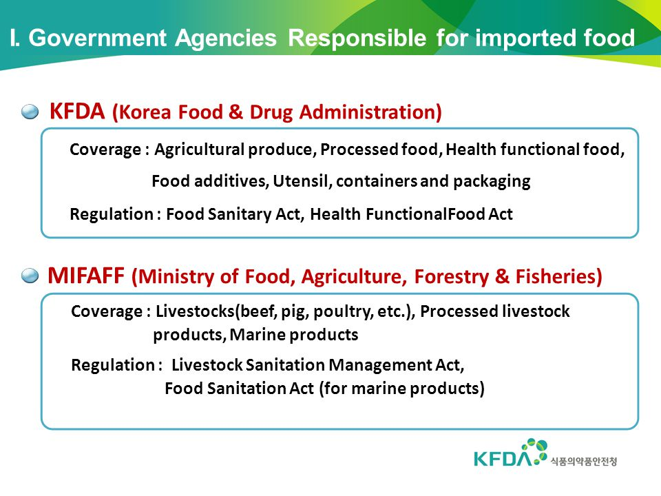 MIFAFF (Ministry of Food, Agriculture, Forestry & Fisheries) Coverage : Agricultural produce, Processed food, Health functional food, Food additives,