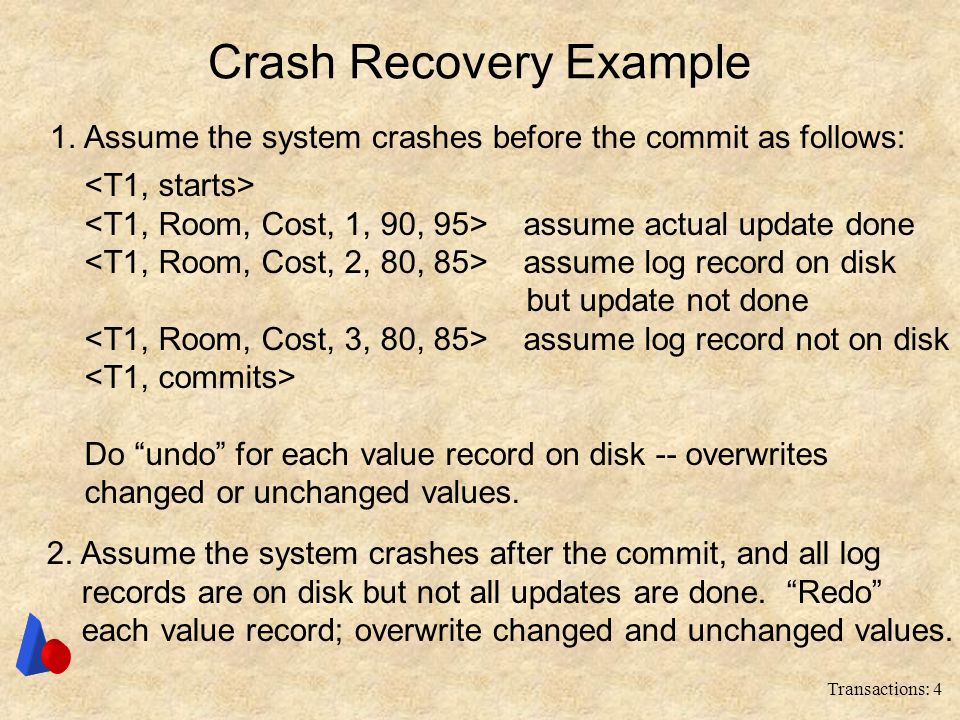 "Transactions: 4 Crash Recovery Example assume actual update done assume log record on disk but update not done assume log record not on disk Do ""undo"""