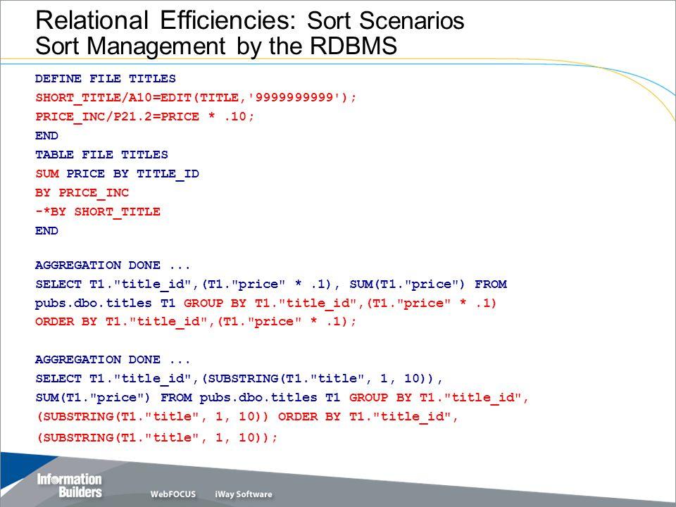 Relational Efficiencies: Sort Scenarios Sort Management by the RDBMS DEFINE FILE TITLES SHORT_TITLE/A10=EDIT(TITLE, 9999999999 ); PRICE_INC/P21.2=PRICE *.10; END TABLE FILE TITLES SUM PRICE BY TITLE_ID BY PRICE_INC -*BY SHORT_TITLE END AGGREGATION DONE...