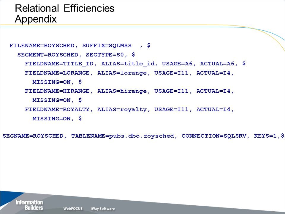 Relational Efficiencies Appendix FILENAME=ROYSCHED, SUFFIX=SQLMSS, $ SEGMENT=ROYSCHED, SEGTYPE=S0, $ FIELDNAME=TITLE_ID, ALIAS=title_id, USAGE=A6, ACTUAL=A6, $ FIELDNAME=LORANGE, ALIAS=lorange, USAGE=I11, ACTUAL=I4, MISSING=ON, $ FIELDNAME=HIRANGE, ALIAS=hirange, USAGE=I11, ACTUAL=I4, MISSING=ON, $ FIELDNAME=ROYALTY, ALIAS=royalty, USAGE=I11, ACTUAL=I4, MISSING=ON, $ SEGNAME=ROYSCHED, TABLENAME=pubs.dbo.roysched, CONNECTION=SQLSRV, KEYS=1,$