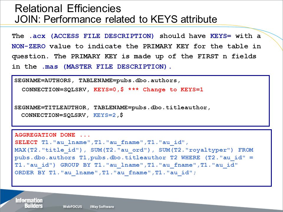 Relational Efficiencies JOIN: Performance related to KEYS attribute SEGNAME=AUTHORS, TABLENAME=pubs.dbo.authors, CONNECTION=SQLSRV, KEYS=0,$ *** Change to KEYS=1 SEGNAME=TITLEAUTHOR, TABLENAME=pubs.dbo.titleauthor, CONNECTION=SQLSRV, KEYS=2,$ AGGREGATION DONE...