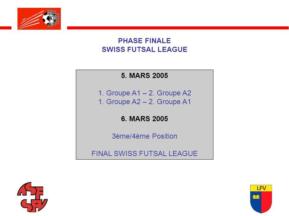 PHASE FINALE SWISS FUTSAL LEAGUE 5. MARS 2005 1. Groupe A1 – 2.