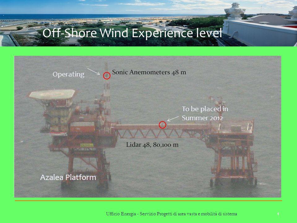 Ufficio Energia - Servizio Progetti di area vasta e mobilità di sistema 4 Off-Shore Wind Experience level Azalea Platform To be placed in Summer 2012 Operating