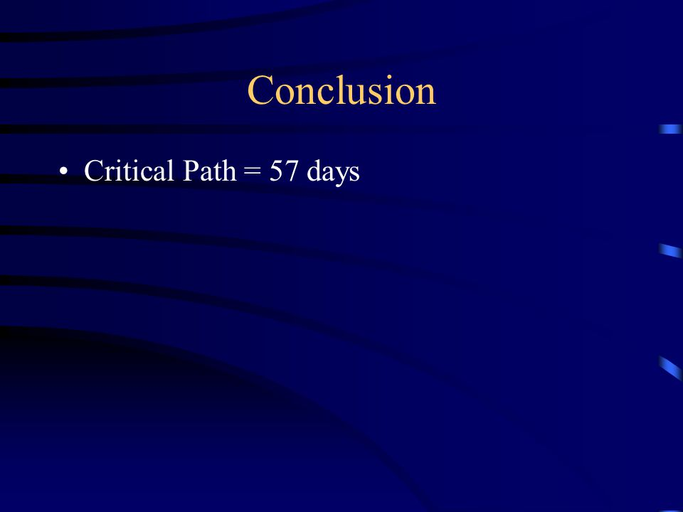 Conclusion Critical Path = 57 days