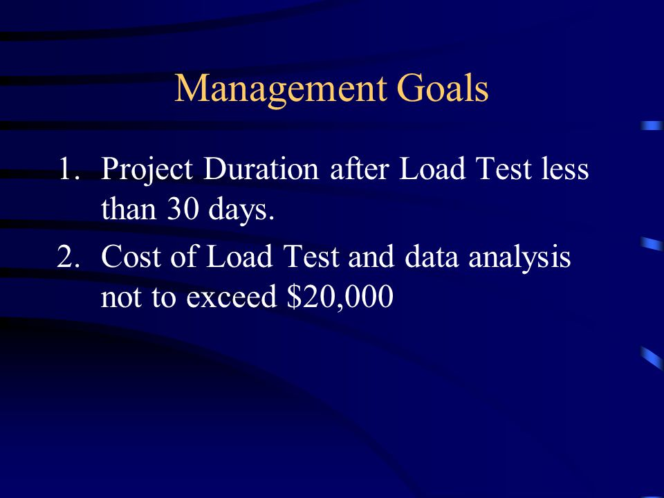 Management Goals 1.Project Duration after Load Test less than 30 days.