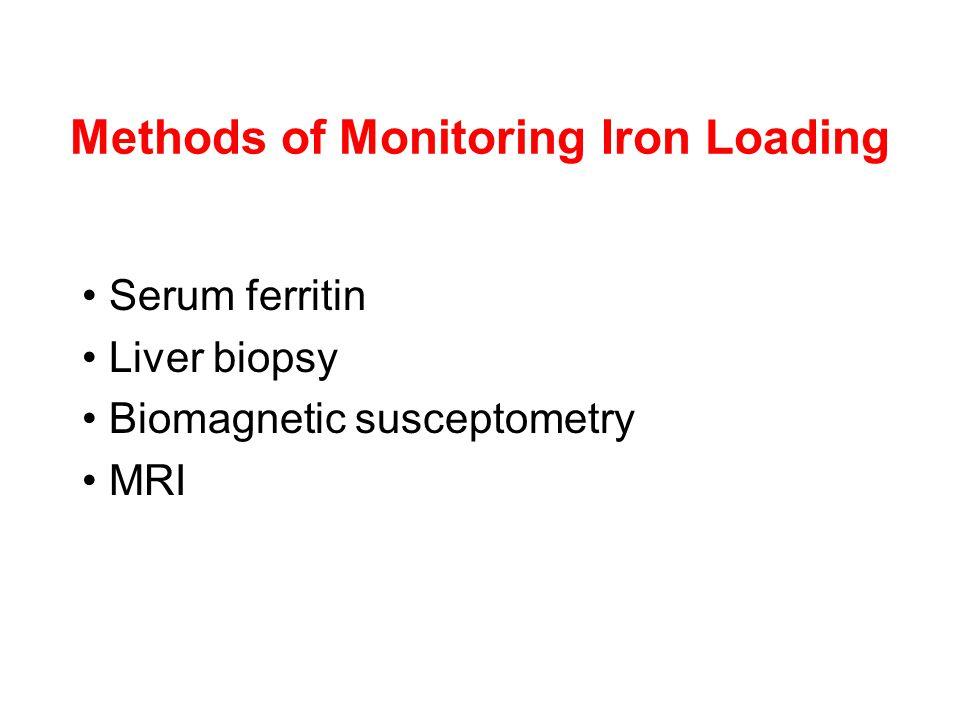 Methods of Monitoring Iron Loading Serum ferritin Liver biopsy Biomagnetic susceptometry MRI