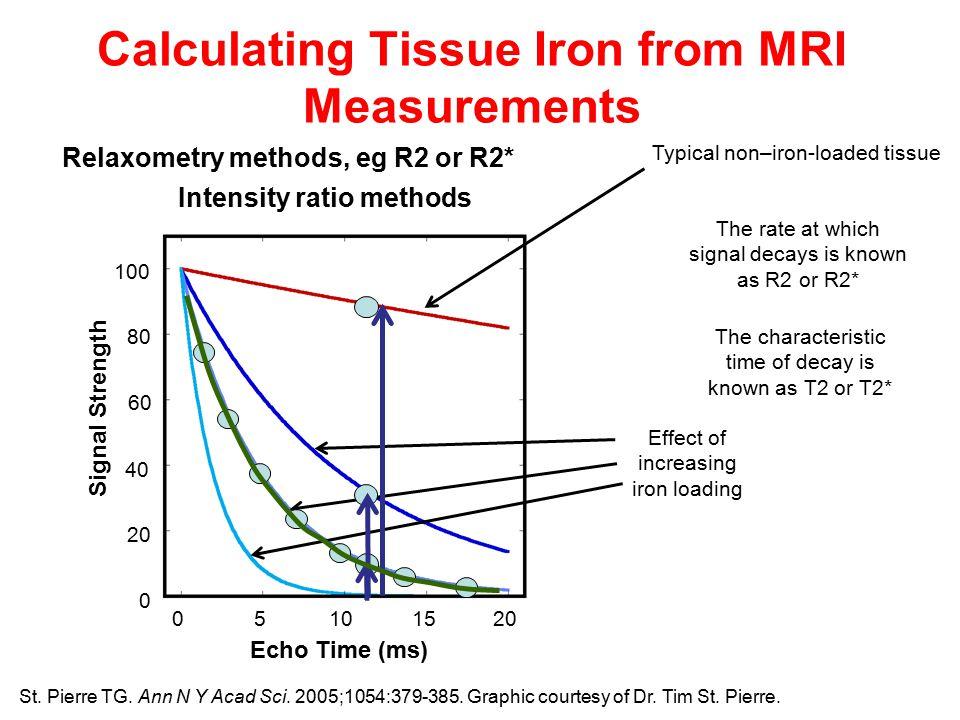 Calculating Tissue Iron from MRI Measurements Typical non–iron-loaded tissue Effect of increasing iron loading Intensity ratio methods Relaxometry methods, eg R2 or R2* The rate at which signal decays is known as R2 or R2* The characteristic time of decay is known as T2 or T2* Echo Time (ms) Signal Strength St.