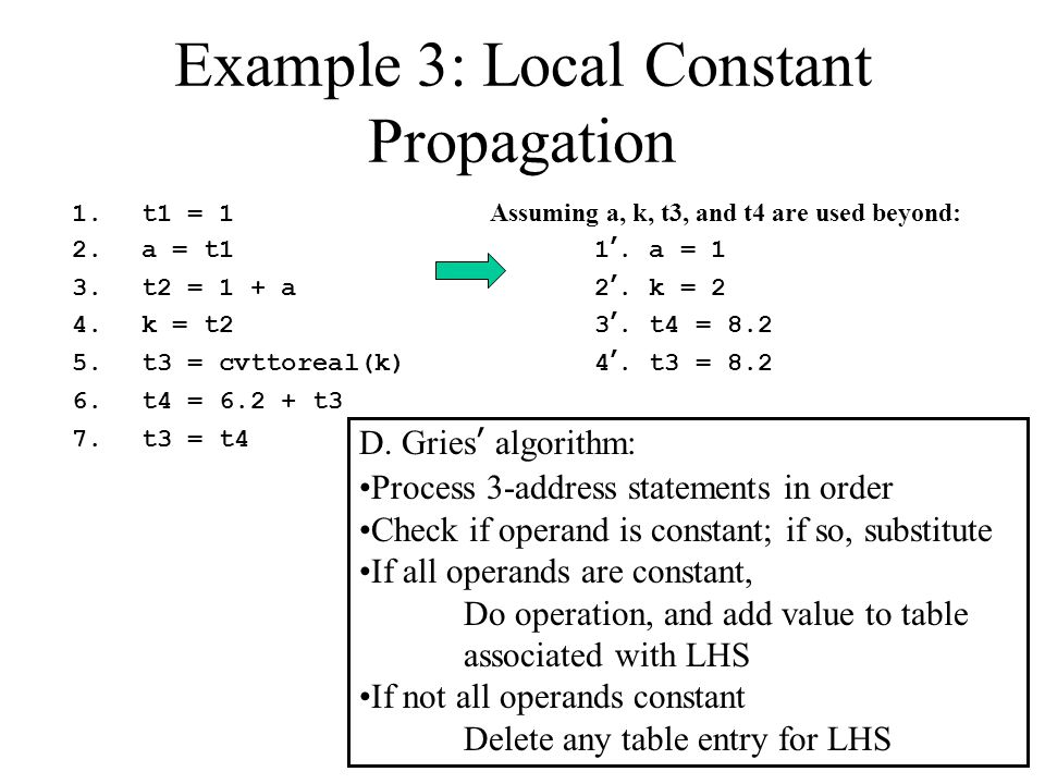 Example 3: Local Constant Propagation 1.t1 = 1 Assuming a, k, t3, and t4 are used beyond: 2.a = t11'. a = 1 3.t2 = 1 + a2'. k = 2 4.k = t23'. t4 = 8.2