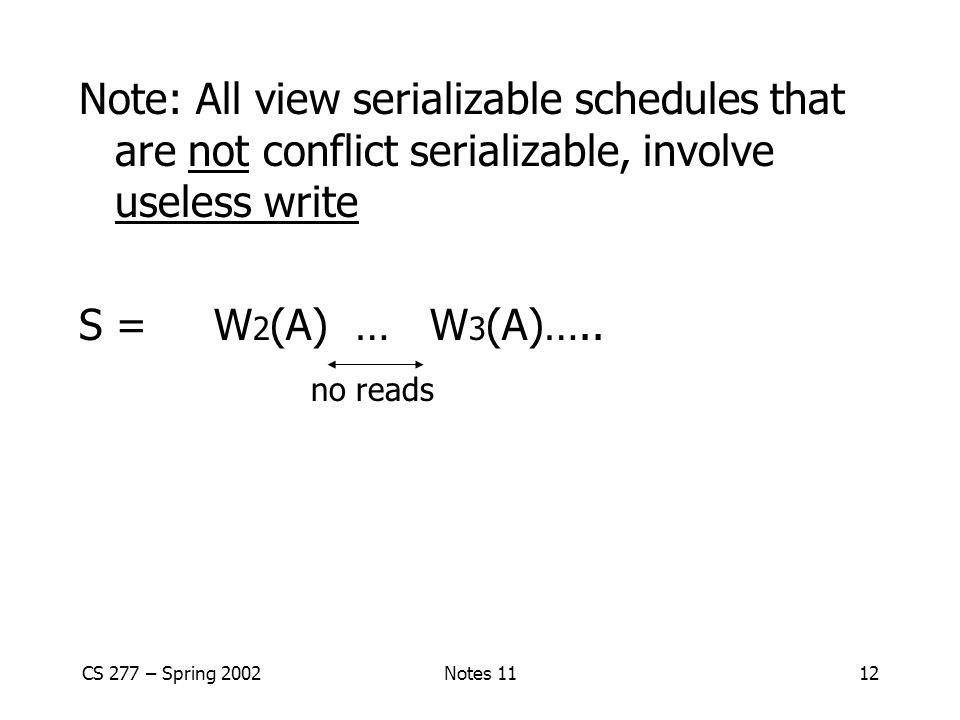 CS 277 – Spring 2002Notes 1112 Note: All view serializable schedules that are not conflict serializable, involve useless write S = W 2 (A) … W 3 (A)….
