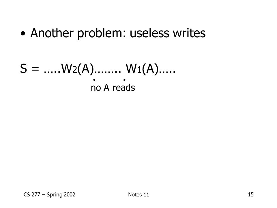 CS 277 – Spring 2002Notes 1115 Another problem: useless writes S = …..W 2 (A)…….. W 1 (A)….. no A reads