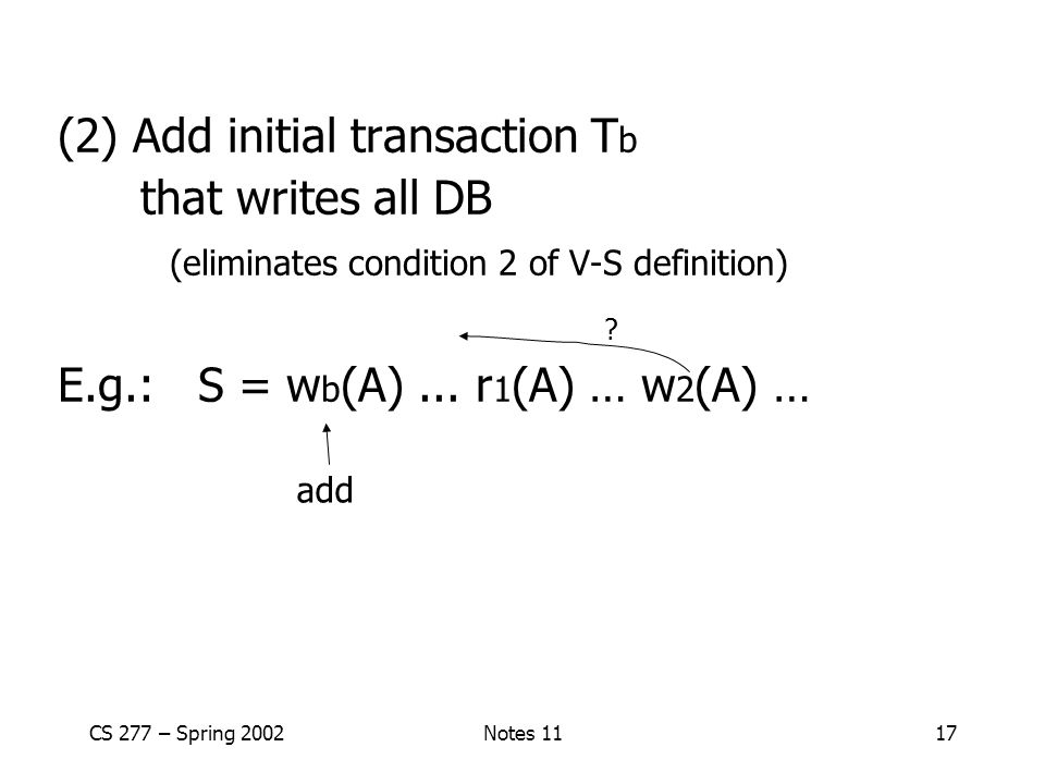 CS 277 – Spring 2002Notes 1117 (2) Add initial transaction T b that writes all DB (eliminates condition 2 of V-S definition) E.g.: S = w b (A)...