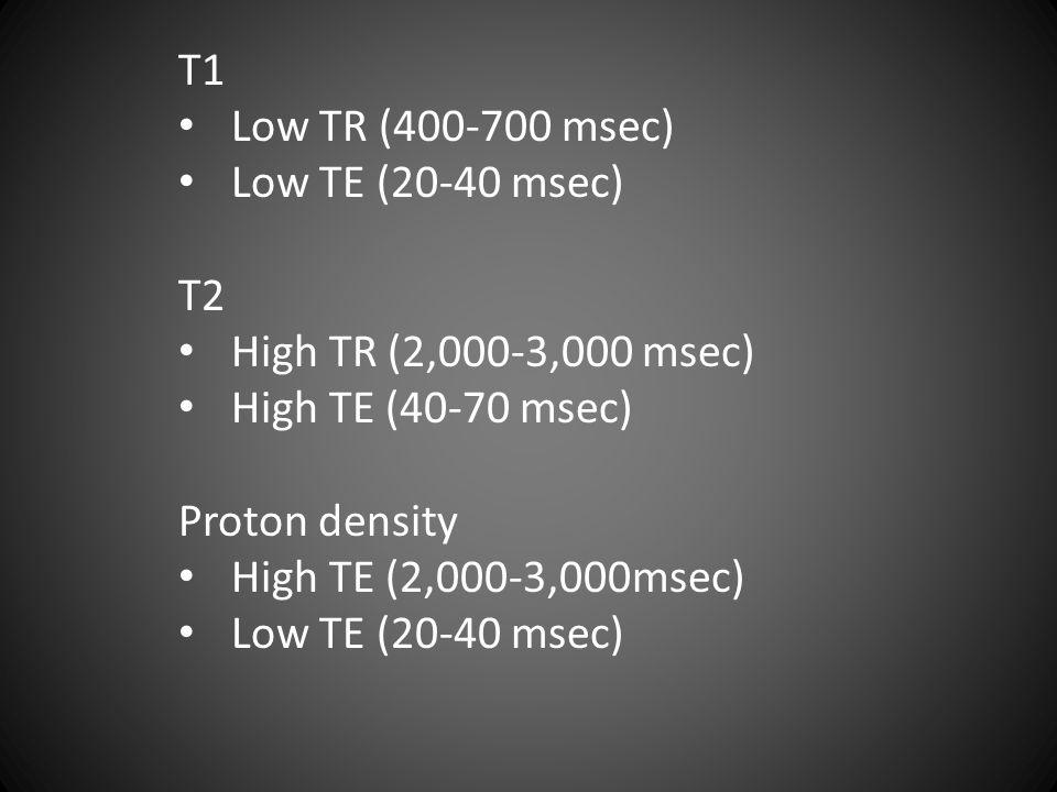 T1 Low TR (400-700 msec) Low TE (20-40 msec) T2 High TR (2,000-3,000 msec) High TE (40-70 msec) Proton density High TE (2,000-3,000msec) Low TE (20-40