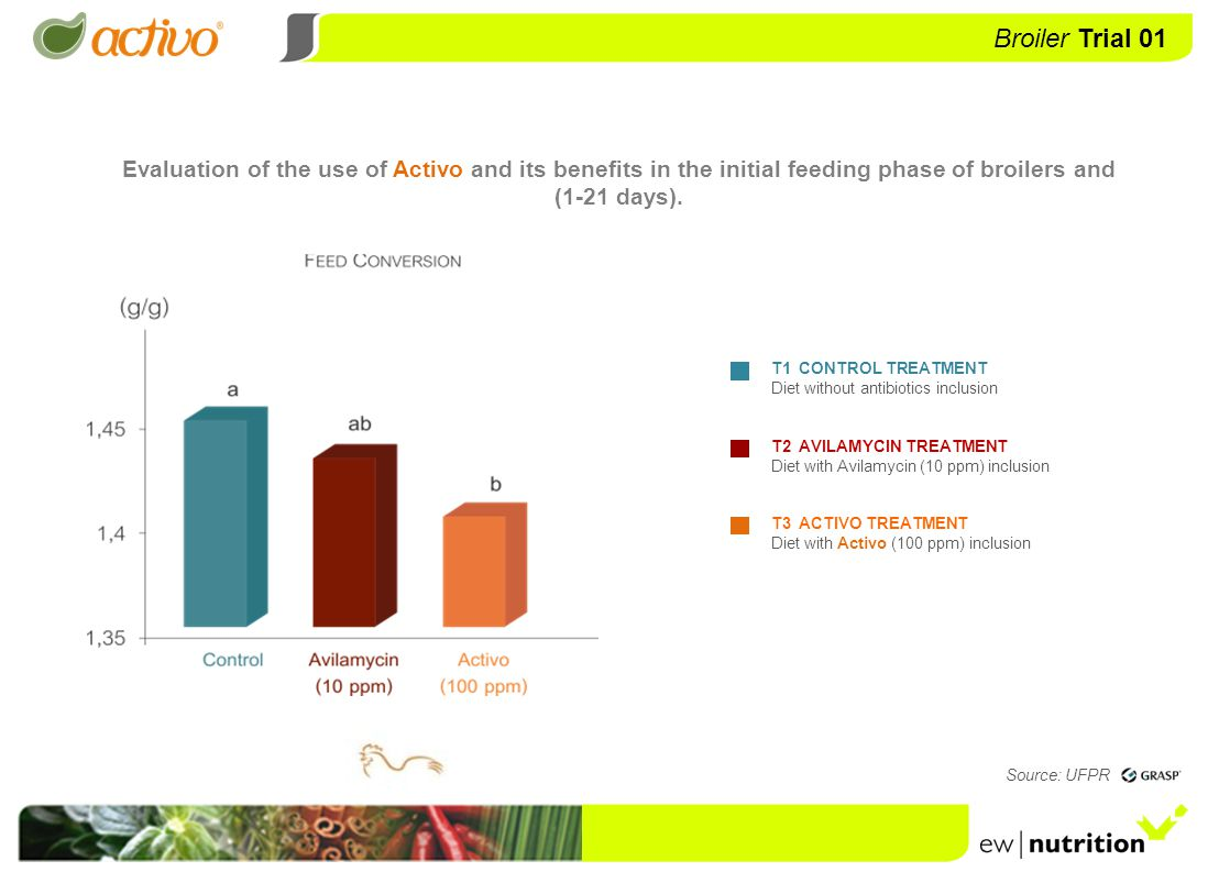 Evaluation of the use of Activo and its benefits in the control of Salmonella enteritidis in broilers Source: UFSM /LAPEMI BROILERS – Salmonella enteritidis Broiler Trial 02 Source: LabMOr / UFPR T1 CONTROL TREATMENT Diet without antibiotics inclusion T2 AVILAMYCIN TREATMENT Diet with Avilamycin (10 ppm) inclusion T3 ACTIVO TREATMENT Diet with Activo (100 ppm) inclusion