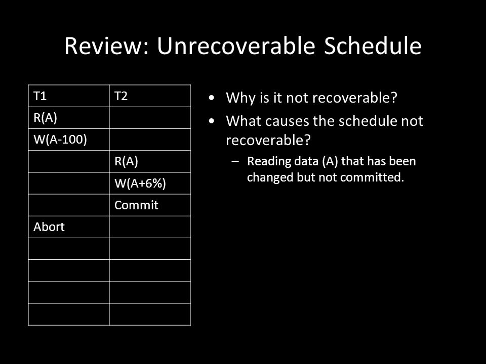 17 Revisit the Example: Serializable but not Conflict Serializable Serializable: –same results as the serial schedule T1, T2, T3.