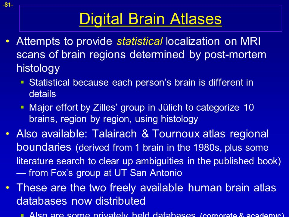 -31- Digital Brain Atlases Attempts to provide statistical localization on MRI scans of brain regions determined by post-mortem histology  Statistica