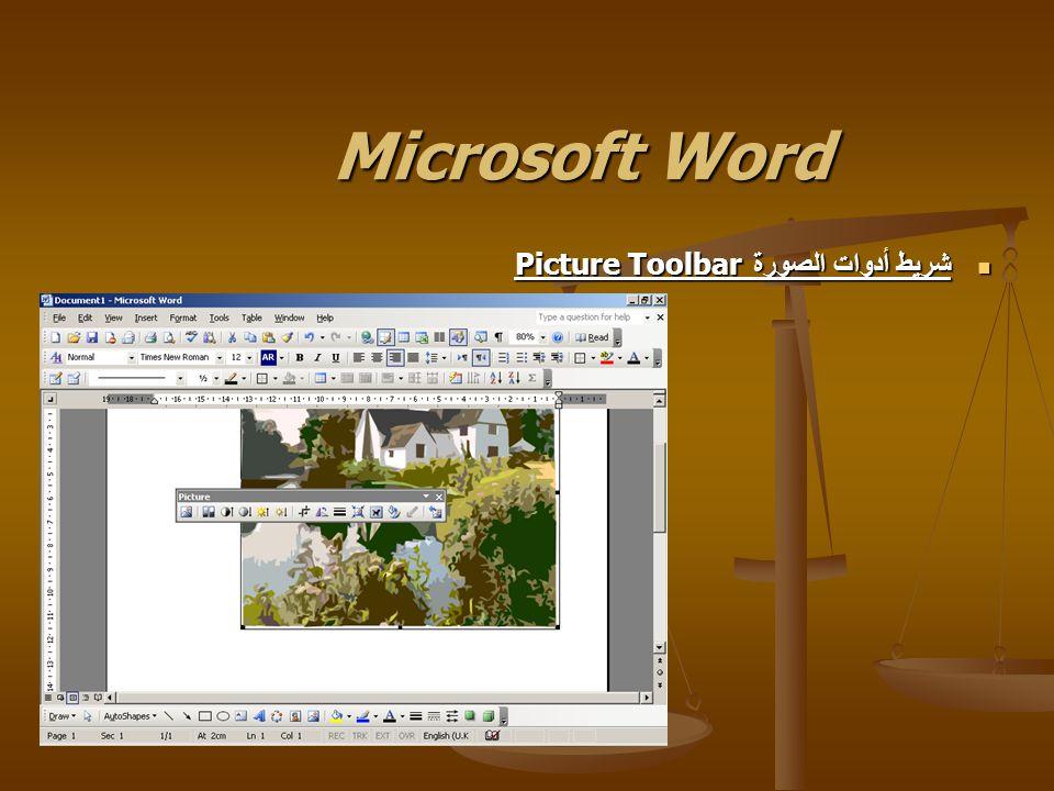 Microsoft Word شريط أدوات الصورة Picture Toolbar شريط أدوات الصورة Picture Toolbar