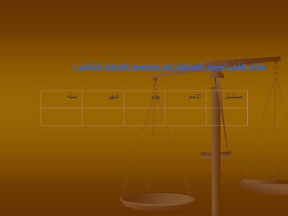 مثال على انشاء الجداول قم بتصميم الجدول التالي : سنهشهريومالإسممسلسل