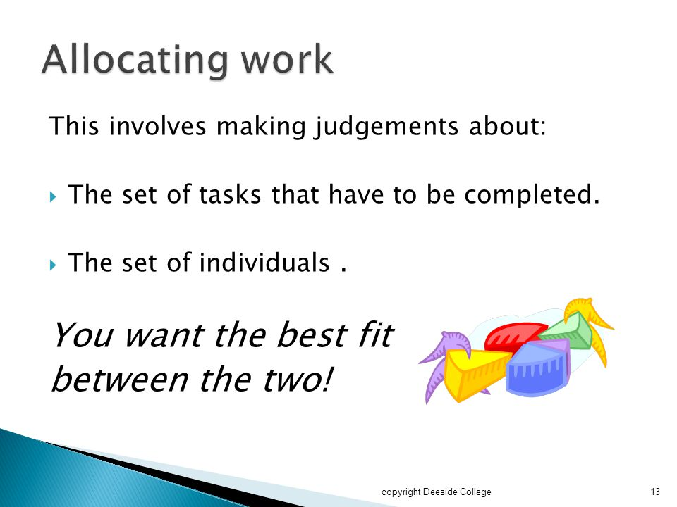 This involves making judgements about:  The set of tasks that have to be completed.  The set of individuals. You want the best fit between the two!