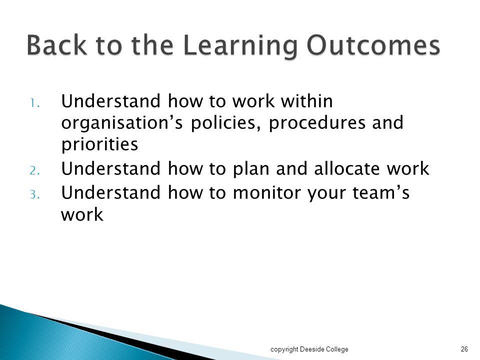 1.Understand how to work within organisation's policies, procedures and priorities 2.