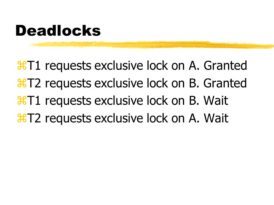 Deadlocks zT1 requests exclusive lock on A.Granted zT2 requests exclusive lock on B.