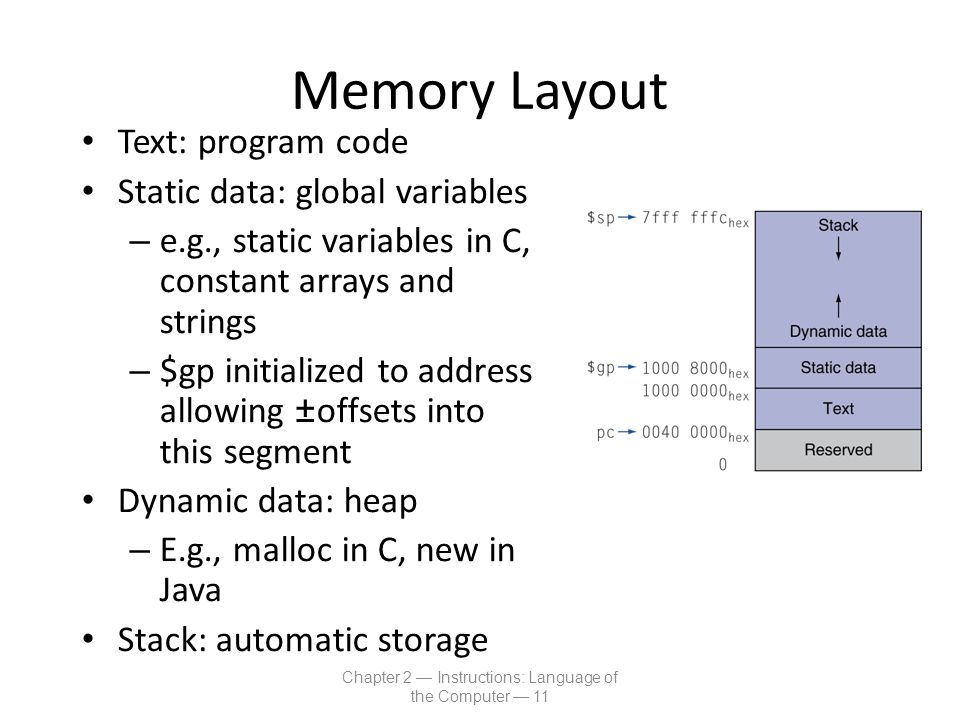 Memory Layout Text: program code Static data: global variables – e.g., static variables in C, constant arrays and strings – $gp initialized to address